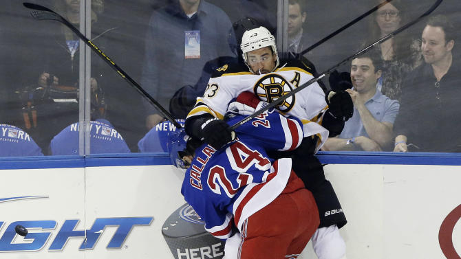 New York Rangers' Ryan Callahan (24) checks Boston Bruins' Chris Kelly (23) during the first period in Game 3 of the Eastern Conference semifinals in the NHL hockey Stanley Cup playoffs in New York, Tuesday, May 21, 2013. (AP Photo/Frank Franklin II)
