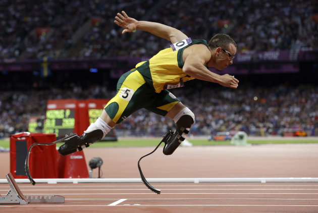 FILE - In this Aug. 5, 2012 file photo, South Africa's Oscar Pistorius starts in the men's 400-meter semifinal during the athletics in the Olympic Stadium at the 2012 Summer Olympics in London. Paralympic superstar Oscar Pistorius was charged Thursday, Feb. 14, 2013, with the murder of his girlfriend who was shot inside his home in South Africa, a stunning development in the life of a national hero known as the Blade Runner for his high-tech artificial legs. Reeva Steenkamp, a model who spoke out on Twitter against rape and abuse of women, was shot four times in the predawn hours in the home, in a gated community in the capital, Pretoria, police said. (AP Photo/Anja Niedringhaus, File)