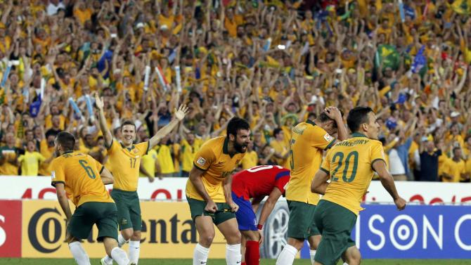 Australia's captain Mile Jedinak reacts at the end of their Asian Cup final soccer match against South Korea at the Stadium Australia in Sydney