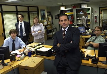 John Krasinski as Jim, BJ Novak as Ryan, Jenna Fischer as Pam, Steven Carell as Michael and Rainn Wilson as Dwight Schrute NBC's The Office Office