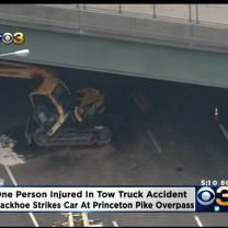 1 Injured After Tow Truck Carrying A Backhoe Strikes Overpass In Lawrenceville