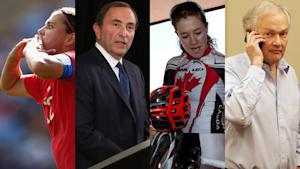 Just a few of the names that dominated the sports scene in 2012, Christine Sinclair, Gary Bettman, Clara Hughes, and Donald Fehr.