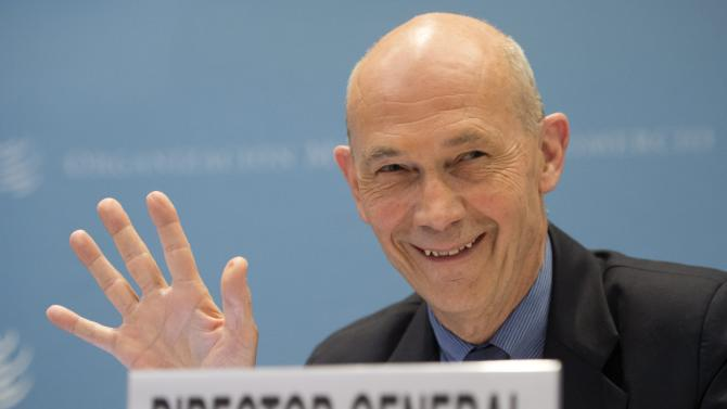 World Trade Organization Director General Pascal Lamy addresses a news conference on world trade figures for 2012 and prospects for 2013 at the WTO headquarters in Geneva, Wednesday, April 10, 2013. (AP Photo/Keystone,Jean-Christophe Bott)