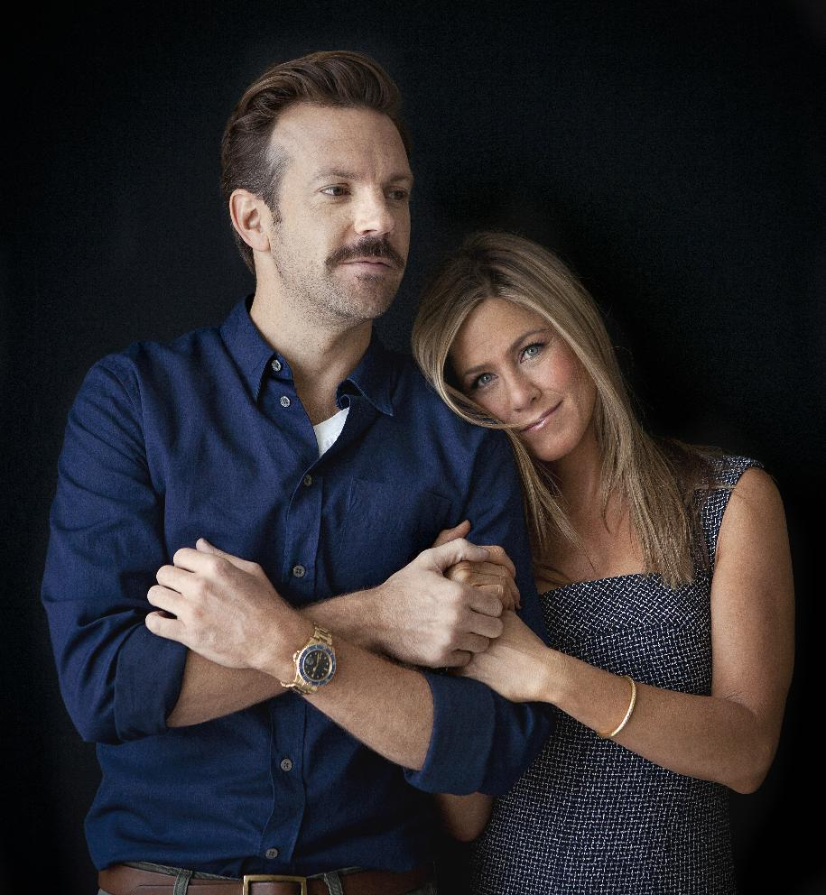 "Actor Jason Sudeikis and actress Jennifer Aniston pose for a portrait as they promote the movie ""We're the Millers"" in New York, Saturday July, 27, 2012 in New York. (Photo by Carlo Allegri/Invision/AP Images)"