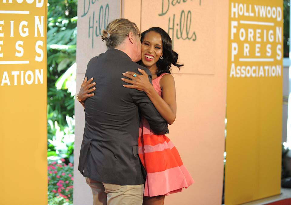 Don Johnson and Kerry Washington attend the Hollywood Foreign Press Association luncheon at the Beverly Hills Hotel on Thursday, Aug. 9, 2012, in Beverly Hills, Calif. (Photo by Jordan Strauss/Invision/AP)