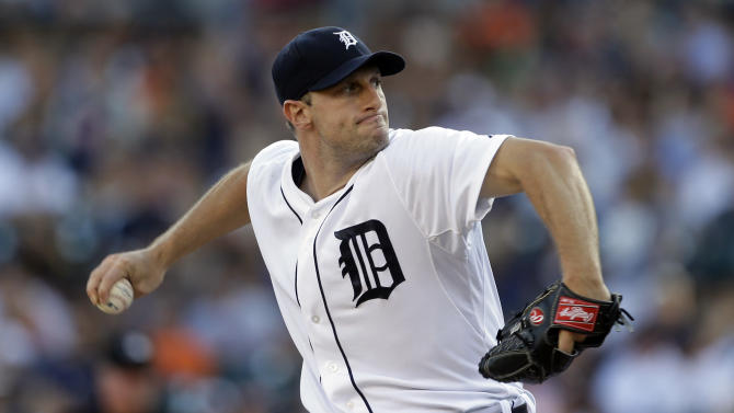 Detroit Tigers starting pitcher Max Scherzer throws during the first inning of a baseball game against the Texas Rangers in Detroit, Saturday, July 13, 2013. (AP Photo/Carlos Osorio)