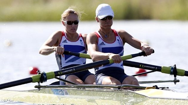 Britain's Helen Glover and Heather Stanning row during the women's rowing pair heat at the Eton Dorney during the London 2012 Olympic Games (Reuters)