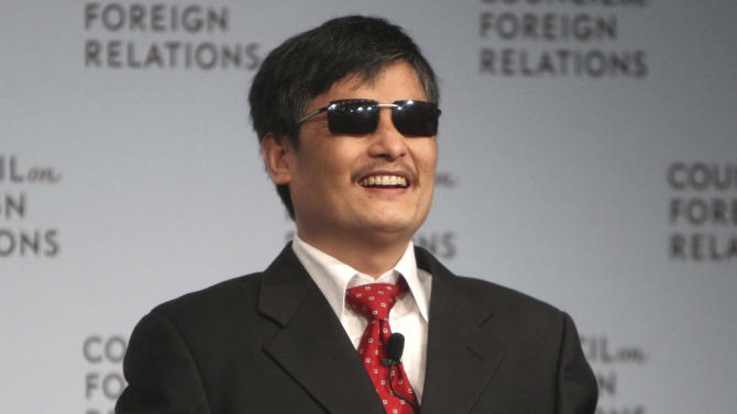FILE - In this May 31, 2012 file photo,  Chen Guangcheng speaks at the Council on Foreign Relations in New York. Chen, a Chinese dissident who was allowed to travel to the U.S. after escaping from house arrest said in a statement Monday, June 17, 2013, that New York University is forcing him and his family to leave at the end of this month because of pressure from the Chinese government. NYU rejected Chen's allegations about Beijing's influence on his fellowship at the university.  (AP Photo/Seth Wenig, File)
