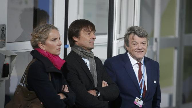 French environmental activist and special envoy for the protection of the planet Nicolas Hulot and former French Ecology ministers Batho and Borloo attend the opening day of the World Climate Change Conference 2015 at Le Bourget, near Paris