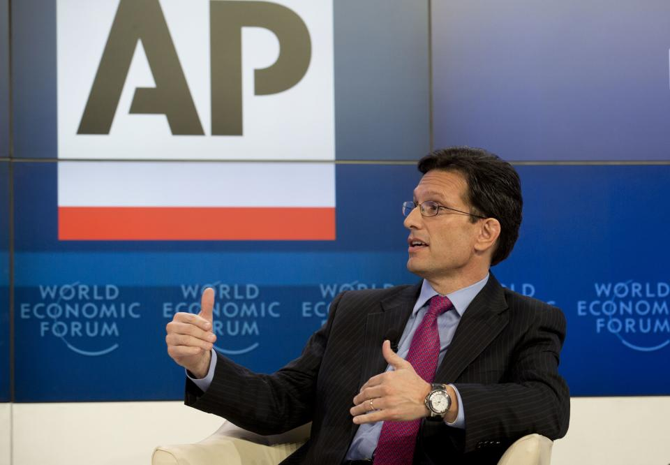 U.S congressman Eric Cantor speaks in the Associated Press session 'Creating Economic Dynamism' during the 43rd Annual Meeting of the World Economic Forum, WEF, in Davos, Switzerland, Friday, Jan. 25, 2013.  (AP Photo/Anja Niedringhaus)