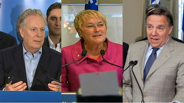 Premier Jean Charest, left, will be shoring up his prospects in his home riding, while Pauline Marois is in the Montreal area and François Legault heads to Rivière-du-Loup.