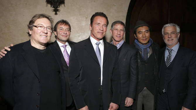 "Producer Lorenzo di Bonaventura, Lionsgate Motion Picture Group President of Motion Picture Production and Development, Patrick Wachsberger, Arnold Schwarzenegger, Co-Chairman and CEO of Lionsgate Jon Feltheimer and Director Kim Jee-Woon and Co-Chairman of Lionsgate Motion Picture Group Rob Friedman attend the after party for the LA premiere of ""The Last Stand"" at Grauman's Chinese Theatre on Monday, Jan. 14, 2013, in Los Angeles. (Photo by Todd Williamson/Invision/AP)"