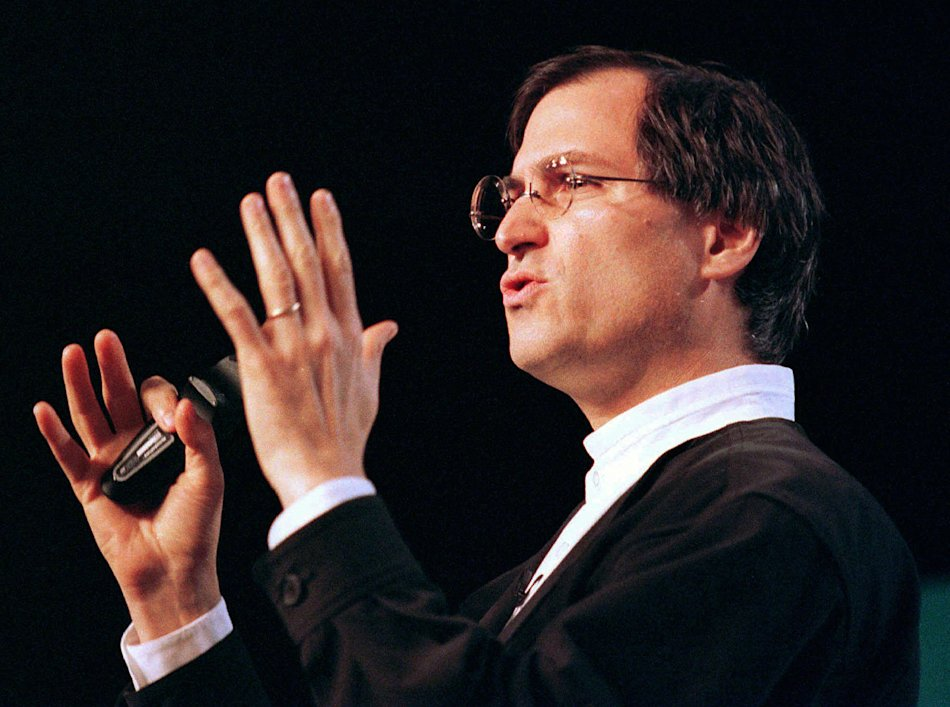 1997 - Steve Jobs, chief executive of Pixar, speaks at the MacWorld trade show in San Francisco. Apple Inc. said Jobs died Wednesday, Oct. 5, 2011. He was 56. (AP Photo/Eric Risberg, File)
