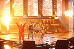 "Cee Lo Green, Blake Shelton, Christina Aguilera and Adam Levine perform a Queen medley on ""The Voice,"" June 7, 2011 -- NBC"