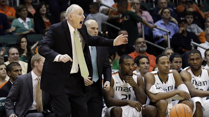 Miami head coach Jim Larranaga reacts to a penalty call during the first half of an NCAA college basketball game against Virginia Tech in Coral Gables, Fla., Wednesday, Feb. 27, 2013. (AP Photo/J Pat Carter)