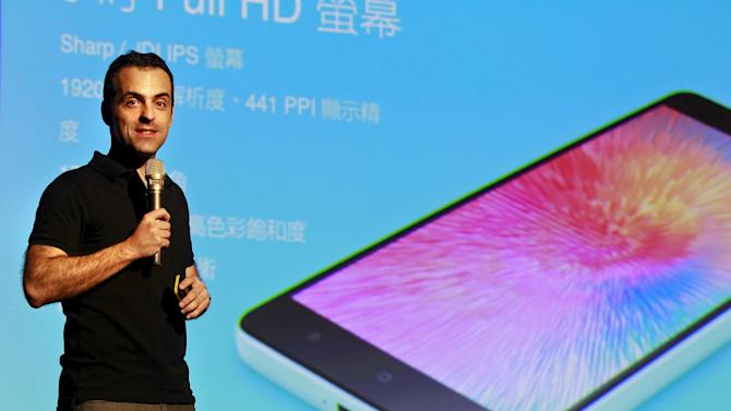 Hugo Barra, Xiaomi's vice president of international operations, speaks during the launch of the company's latest smartphone Mi 4i in Taipei