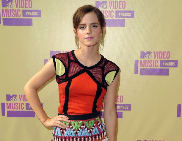 FILE - This Sept. 6, 2012 file photo shows actress Emma Watson at the MTV Video Music Awards in Los Angeles. McAfee said Monday, Sept. 10, that the Harry Potter star is the most dangerous celebrity to search for online. That&#39;s because many sites use Watson to trick users into downloading malicious software or to steal personal information. When searching for the 22-year-old Watson, there&#39;s a one-in-eight chance of landing on a malicious site. (Photo by Jordan Strauss/Invision/AP, File)