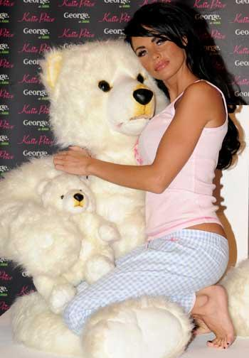 For British celeb Katie Price, bedtime isn't complete without a stuffed polar bear to rest upon her breast.