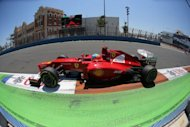 Ferrari's Spanish driver Fernando Alonso drives at the Valencia Street Circuit in Valencia during the European Formula One Grand Prix