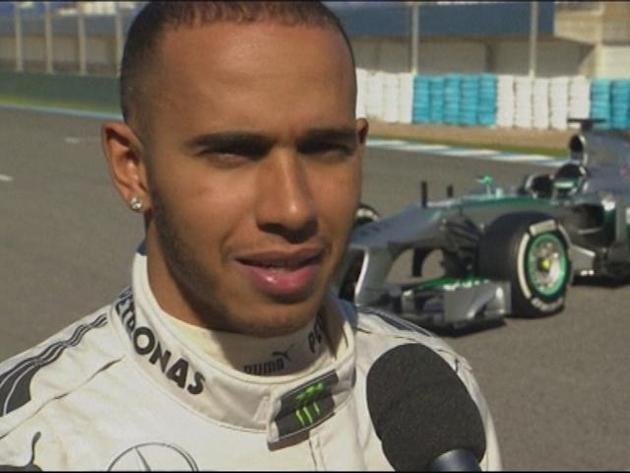 Hamilton shows off his new Mercedes