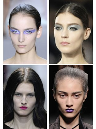 Clockwise from top left: Dior; Chanel; Haider Ackermann; Dries Van Noten Read More http://www.wmagazine.com/w/blogs/thedailyw/2012/10/05/colorful-makeup-2013-runways.htm#ixzz2A8iZmeAL