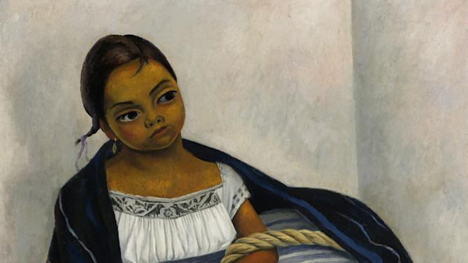 "This undated image released by Sotheby's New York shows Diego Rivera's 1939 oil on canvas painting ""Niña en Azul y Blanco,"" (Retrato de Juanita Rosas a los Diez Años de Edad) that will be auctioned with other Latin American artworks on May 23-24 at Sotheby's in New York. (AP Photo/Sotheby's New York)"