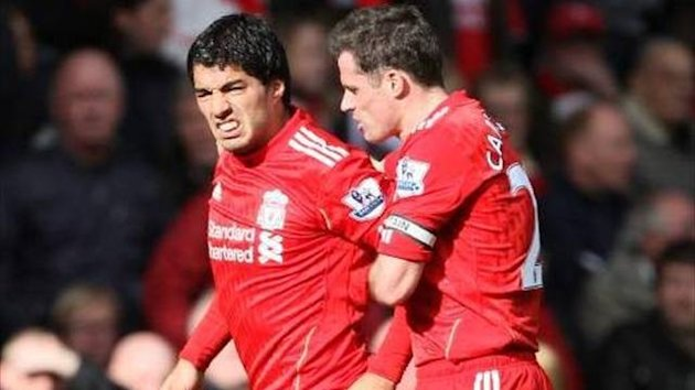 Jamie Carragher and Luis Suarez (Imago)