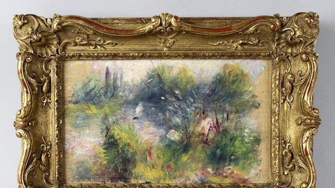"""This image released by Potomack Company shows an apparently original painting by French impressionist Pierre-Auguste Renoir that was acquired by a woman from Virginia who stopped at a flea market in West Virginia and paid $7 for a box of trinkets that included the painting. Anne Norton Craner, fine arts director for the Potomack Co. auction house in Alexandria, Va., says the woman made an appointment in July to see if it might be real. Craner says the painting was verified through a close look at the colors and brushwork along with the help of the French publisher of a catalog of Renoir's work. Craner said the painting is """"Paysage Bords de Seine."""" (AP Photo/Potomack Company)"""