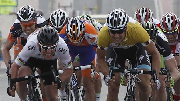 Mark Cavendish (L) of Team Sky sprints clear of Tom Boonen of Team Omega Pharma Qucik-Step during third stage of the 2012 Tour of Qatar (Reuters)