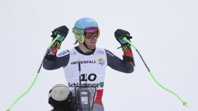 United States' Ted Ligety reacts after the men's super-G at the Alpine skiing world championships in Schladming, Austria, Wednesday, Feb.6,2013. (AP Photo/Matthias Schrader)