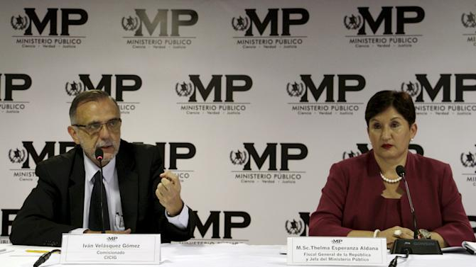 File photo of Commissioner of the CICIG in Guatemala Velasquez and Attorney General and head of the Public Ministry Aldana, attending a news conference at the Public Ministry office in Guatemala City