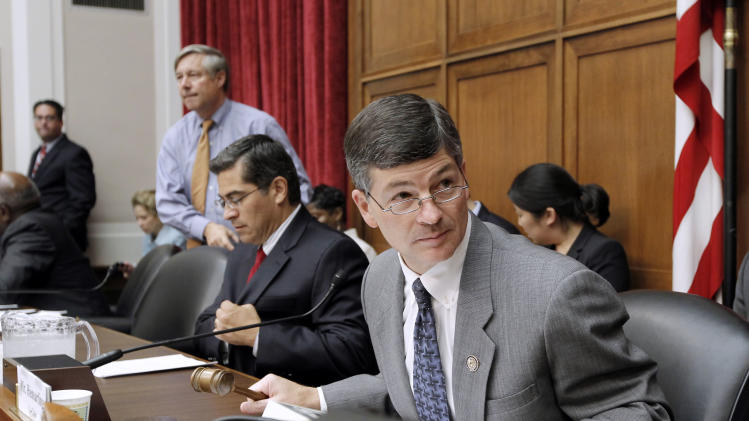 Supercommittee co-chair, Rep. Jeb Hensarling, R-Texas, right, begins a hearing of the Joint Select Committee on Deficit Reduction, Thursday, Sept. 22, 2011, on Capitol Hill in Washington. From right are: Hensarling, Rep. Xavier Becerra, D-Calif., and Rep. Fred Upton, R-Mich. (AP Photo/J. Scott Applewhite)