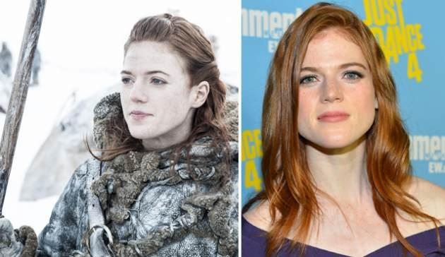 Rose Leslie as Ygritte in 'Game of Thrones' Season 3 (left), and at a Comic-Con 2012 party (right) -- HBO