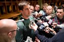 Green Bay Packers quarterback Aaron Rodgers answers questions from the media inside the locker room at Lambeau Field on Friday, April 26, 2013, in Green Bay, Wis., after the announcement of his contract extension with the NFL football team. (AP Photo/The Green Bay Press-Gazette, Lukas Keapproth) NO SALES