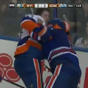 Mark Fraser and Matt Martin scrap