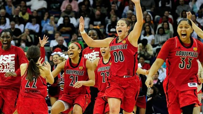 The women's Louisville Cardinals celebrate making it to the NCAA championship finals.