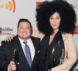 Chaz Bono and Cher backstage at the 23rd Annual GLAAD Media Awards in Los Angeles on April 21, 2012  -- Getty Images