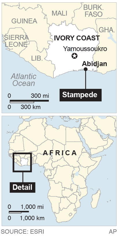 Map shows Abidjan, where a stampede killed dozens;