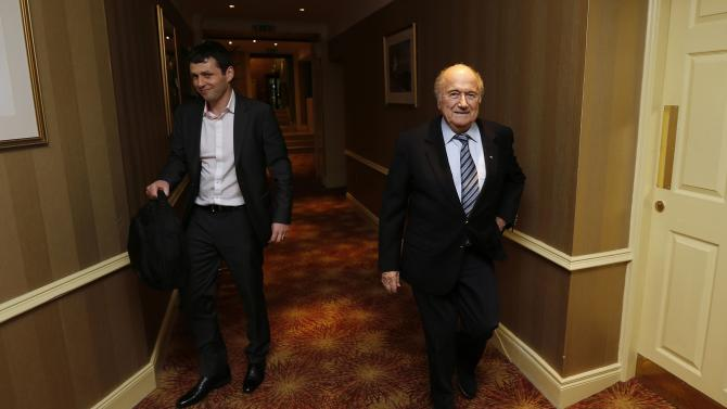 Sepp Blatter, President of FIFA, arrives for the AGM of the International Football Association Board at the Culloden Hotel near Belfast