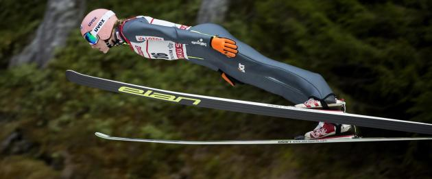 Kubacki soars through the air during the FIS World Cup skijumping event in Trondheim