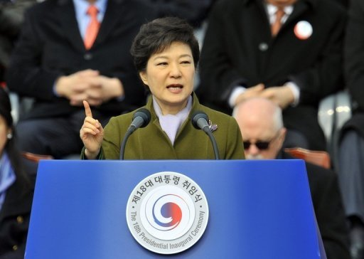 <p>Park Geun-Hye speaks during her presidential inauguration ceremony in Seoul on February 25, 2013. She was sworn in as South Korea's first female president, vowing zero tolerance with provocations from a nuclearised North Korea and a new era of economic prosperity for all.</p>