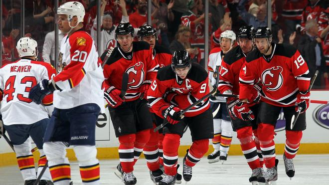 Marek Zidlicky #2, Bryce Salvador #24, Zach Parise #9, Ilya Kovalchuk #17 And Travis Zajac #19 Of The New Jersey Getty Images