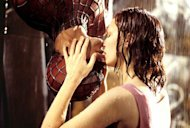 Spiderman and Mary Jane's famous kissing scene. Photo: Columbia Pictures