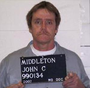 FILE - In this 2007 file photo provided by the Missouri Department of Corrections is John Middleton. Middleton is scheduled to die for the 1995 murder of Alfred Pinegar, a suspected drug snitch in rural Missouri. (AP Photo/Missouri Department of Corrections, File)