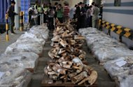 Hong Kong customs officers seized almost four tonnes of ivory, pictured here, which is worth about $3.4 million. The ivory was hidden in shipments from Kenya and Tanzania, officials said Saturday