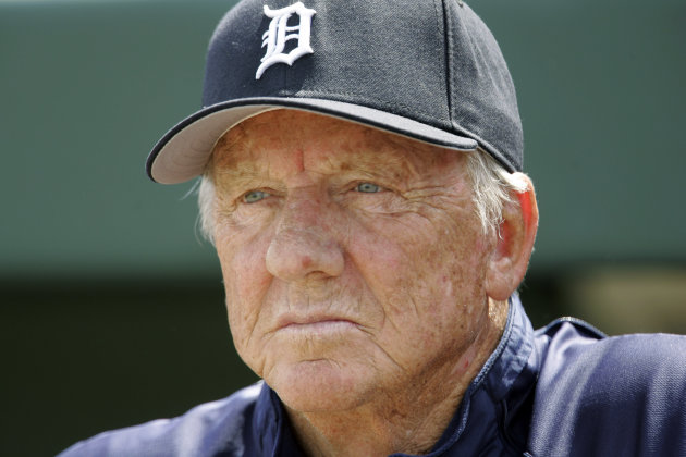 FILE - In this March 18, 2008, file photo, Detroit Tigers Hall of Famer Al Kaline watches a spring training baseball game between the Tigers and the Washington Nationals in Lakeland, Fla. For only the