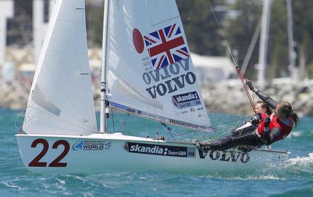 England's Hannah Mills and Saskia Clark compete during the Women's 470 class, gold medal race at the Sailing Championships in Perth, Australia, Sunday, Dec. 18, 2011. (AP Photo/ Theron Kirkman)