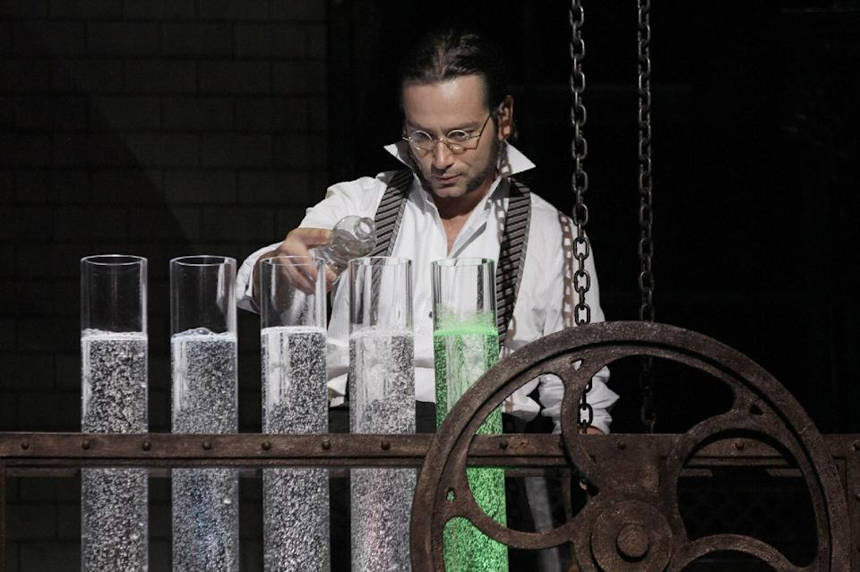 "This theater publicity image released by The Hartman Group shows Constantine Maroulis during a performance of ""Jekyll & Hyde"" playing at the Marquis Theatre in New York. (AP Photo/The Hartman Group, Chris Bennion)"