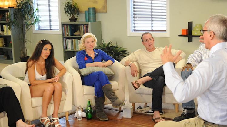 "Amy Fisher, Jessica ""Sugar Kipper"", and Michael Lohan sitting in front of Dr. Drew Pinsky on ""Celebrity Rehab with Dr. Drew."""