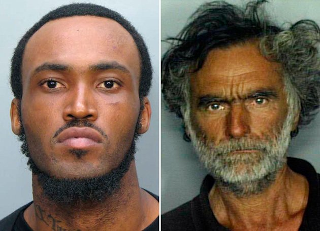 A gruesome attack by Rudy Eugene (pictured, left) left homeless man Ronald Poppo (pictured, right) blind and missing pieces of his face. Eugene was eventually shot and killed by a police officer. The attack appeared random. (Miami-Dade Police Dept./AP Photo)